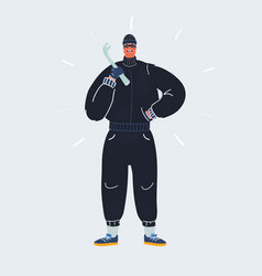 Burglar with a crowbar in vector