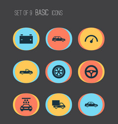 Car icons set collection of wheel automobile vector