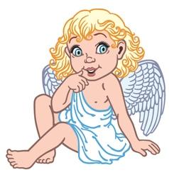 cartoon little angel vector image