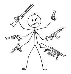Cartoon man with six arms holding weapons like vector