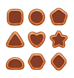 cartoon wooden buttons set vector image