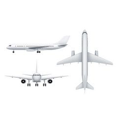 Civil aircraft views passenger white plane vector