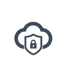 cloud computing sequrity icon with shield and vector image