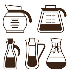 coffee makers pots and kettle line icons vector image