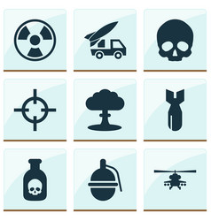 Combat icons set with grenade skull poison and vector