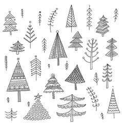 Decorated christmas trees set vector