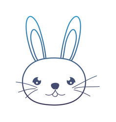 Degraded line cute rabbit male head animal vector