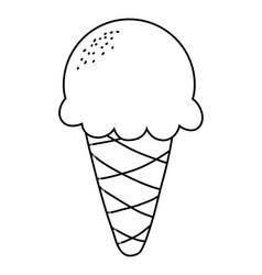 Delicious ice cream with one scoop cartoon in vector