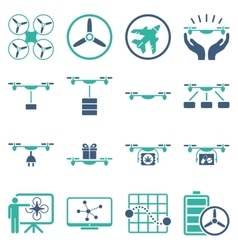 Drone shipment icon set vector