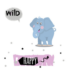 elephant animal character with quotes vector image