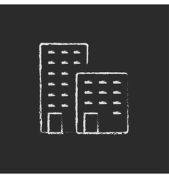 Factory icon drawn in chalk vector