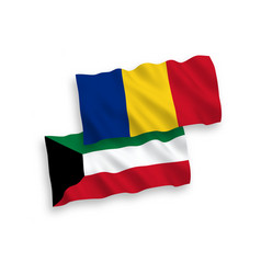 Flags romania and kuwait on a white background vector