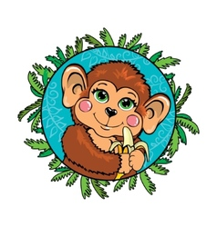 Funny monkey with a banana in her hand In the vector image