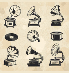 gramophones collection vintage radio music vector image