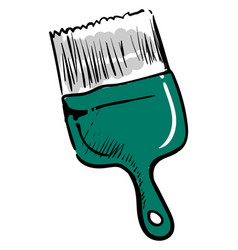 green paint brush on white background vector image