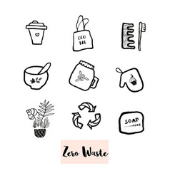 hand drawn doodle elements of zero waste lifestyle vector image