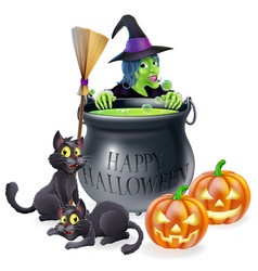 Happy halloween witch and cauldron vector