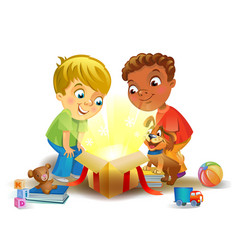 Holiday miracle - boys opening a magic gift vector