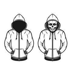 Hoodie with blank face and with skull objects vector