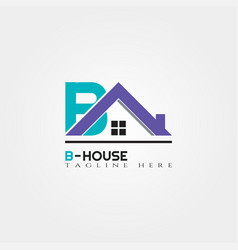 house icon template with b letter home creative vector image