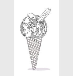 Ice cream cone with chocolate flake vector