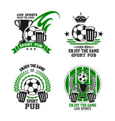 Icons for soccer football sport pub vector