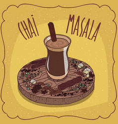 Indian tea masala chai on wooden plate vector