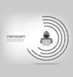Internet hacker on digital binary code background vector