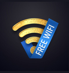 isolated golden wifi icon with blue ribbon vector image