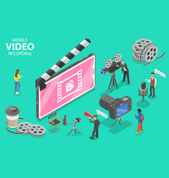 Isometric flat concept mobile video vector