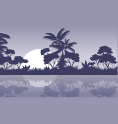 Jungle scenery with river silhouette style vector