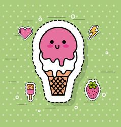 kawaii ice cream sweet cold cute cartoon vector image