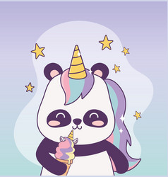 Kawaii panda with unicorn ice cream cartoon vector