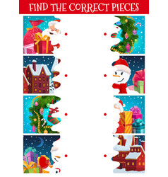 kids christmas puzzle find correct piece game vector image