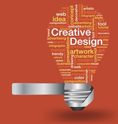 light bulb with creative design concept word cloud vector image