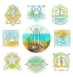 Line drawing Summer holidays and travel emblems vector image