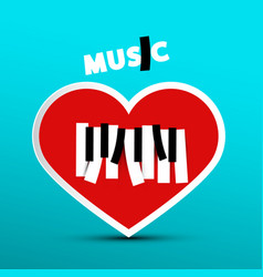 love music design with heart on blue background vector image