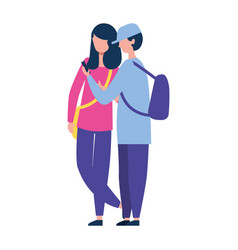 man and woman together using smartphone vector image