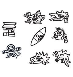 mayan symbols great artwork for tattoos vector image