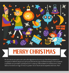 merry christmas happy winter holidays banner with vector image