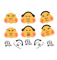 minisalistic thick emoticons set fat faces vector image