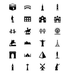 Monuments icons 1 vector