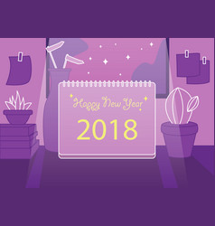 Note flat happy new year 2018 frame background vector
