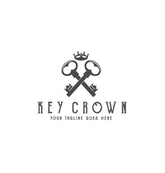 old keys with crown logo vector image