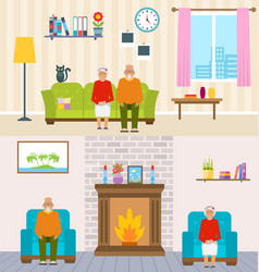 old people home interior background aged vector image