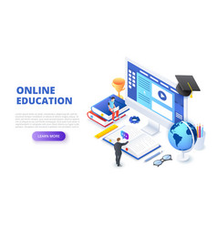 Online education design concept with computer vector