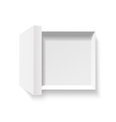 Open white pack box empty cardboard container vector
