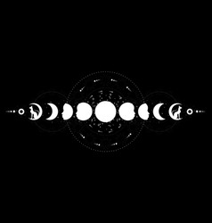 phases moon wiccan triple moon black cats vector image