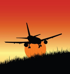 plane and sunset art vector image