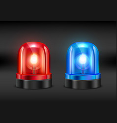 police siren realistic pictures of fire or vector image